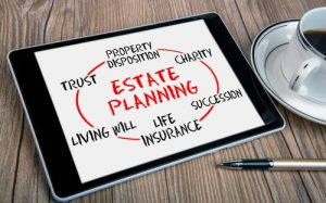 estate planning tablet showing estate planning process